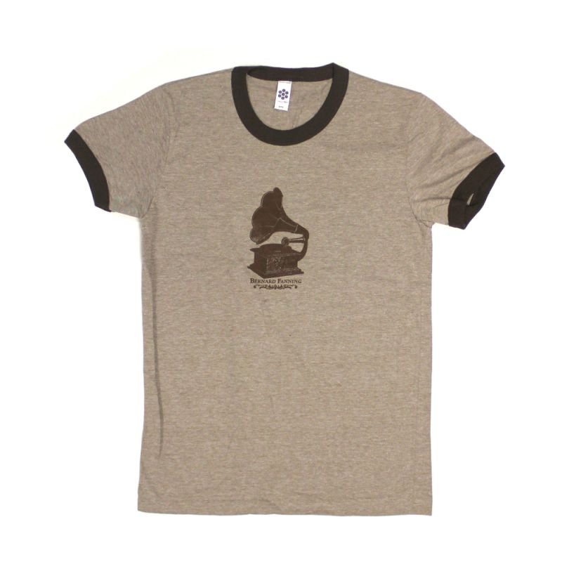 Gramaphone Brown Mens Ringer Tshirt