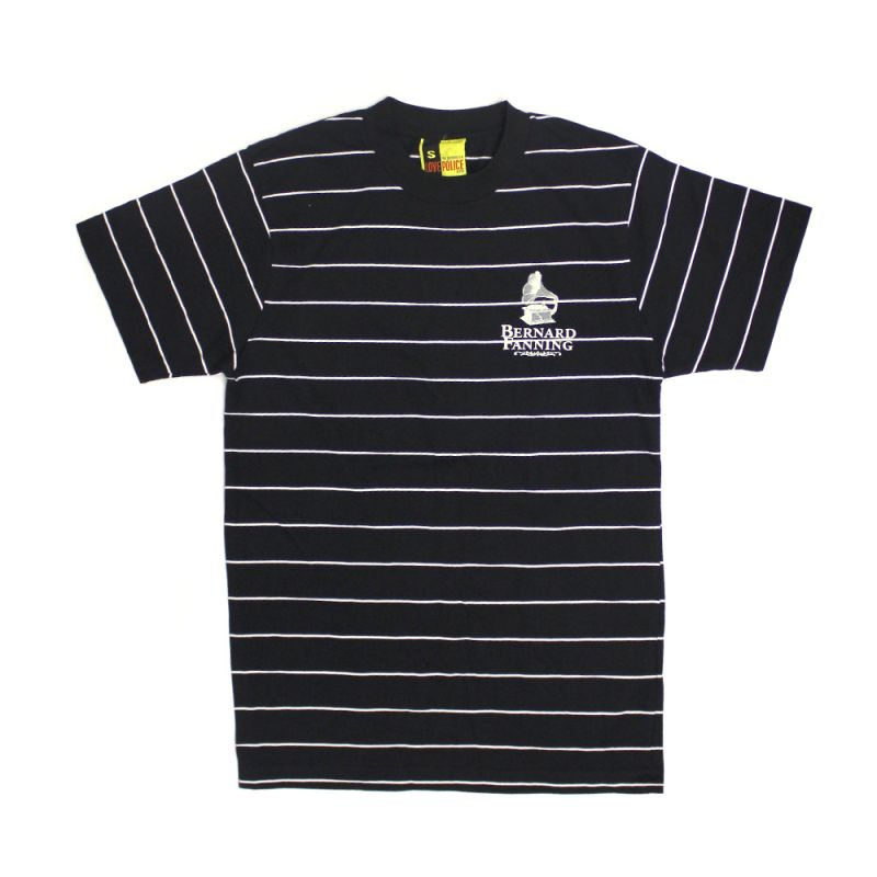 Gramaphone Striped Black Mens Tshirt