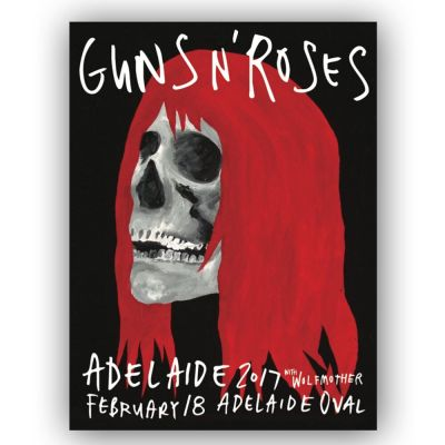 Adelaide - 18th Feb Lithograph Skull With Red Hair (Limited)