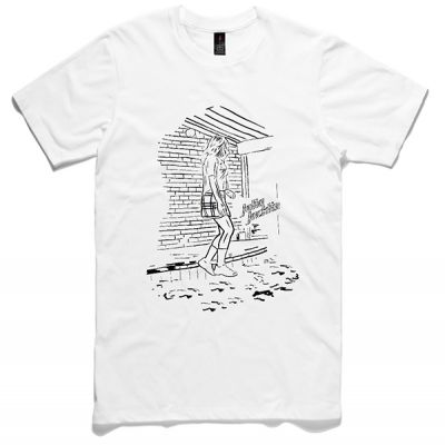 Black Drawing and Text White Mens Unisex Tshirt