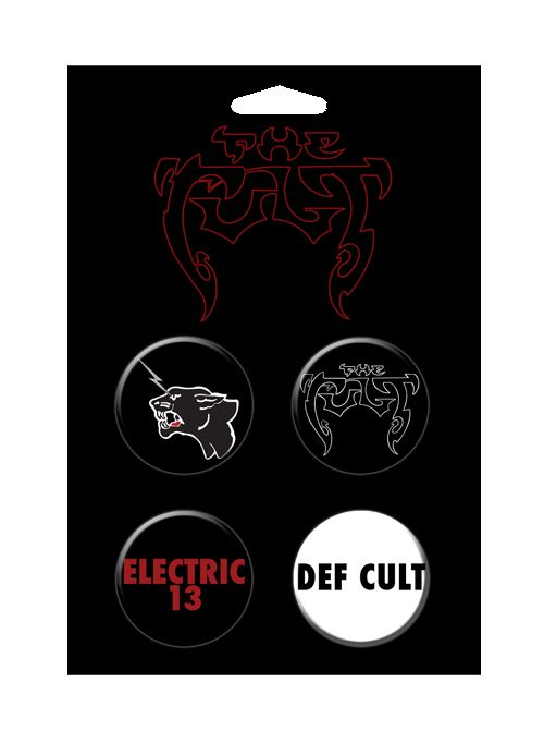 The Cult Electric 13 4 Button Pin Set  by The Cult