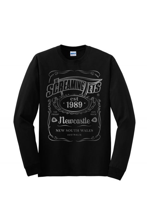 New Metallic Silver Print JD Longsleeve Black Tshirt by The Screaming Jets