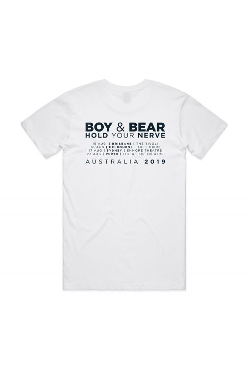 Hold Your Nerve Tour White Tshirt by Boy & Bear