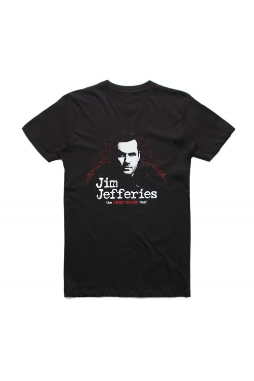 Night Talker Tour Black Tshirt by Jim Jefferies