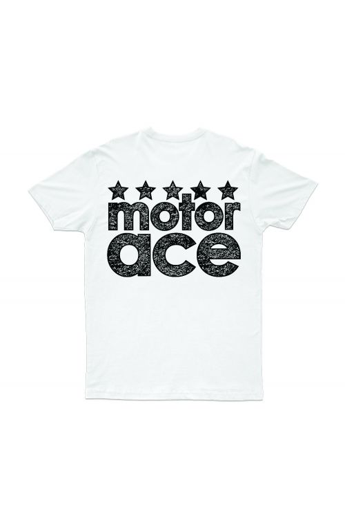 5 Star White Tshirt by Motor Ace