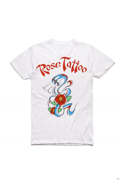 Rock N Roll Outlaw 40th Anniversary White Tshirt by Rose Tattoo