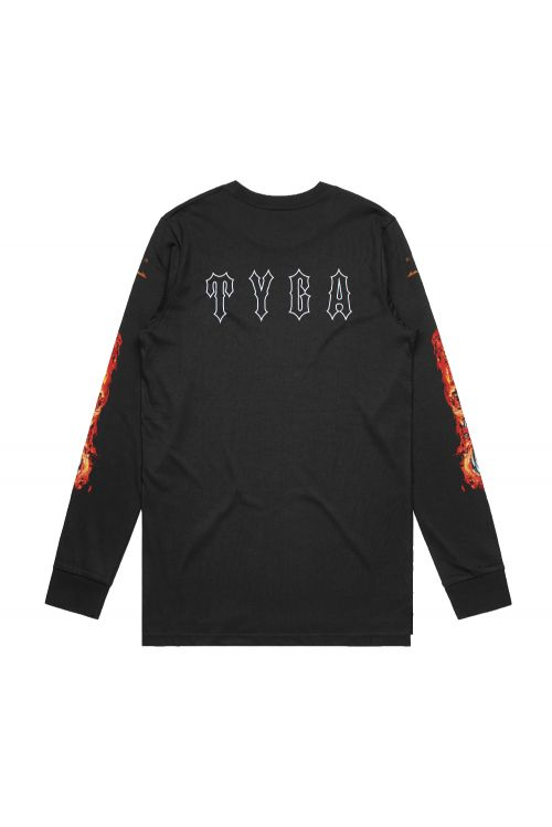 Flaming Skull Black Longsleeve Tshirt by Tyga