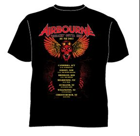 Breaking Out Of Hell 2017 Black Tour Tshirt by Airbourne