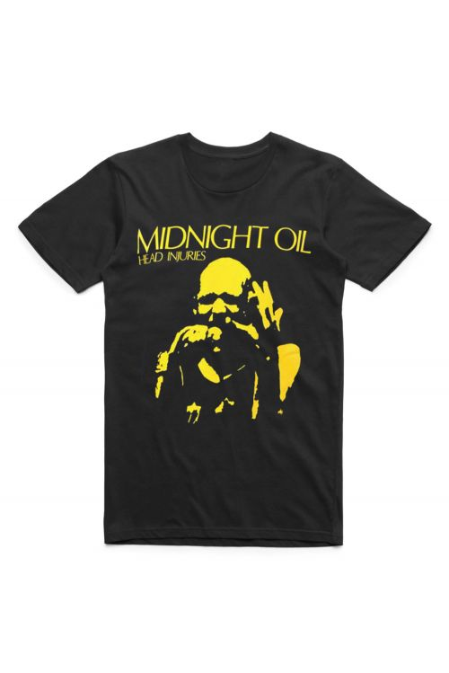 Head Injuries Black Tshirt by Midnight Oil