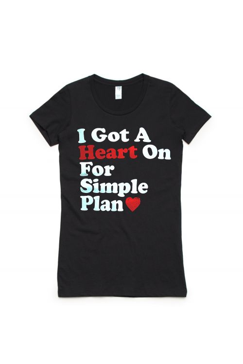 Heart On Black Tshirt by Simple Plan