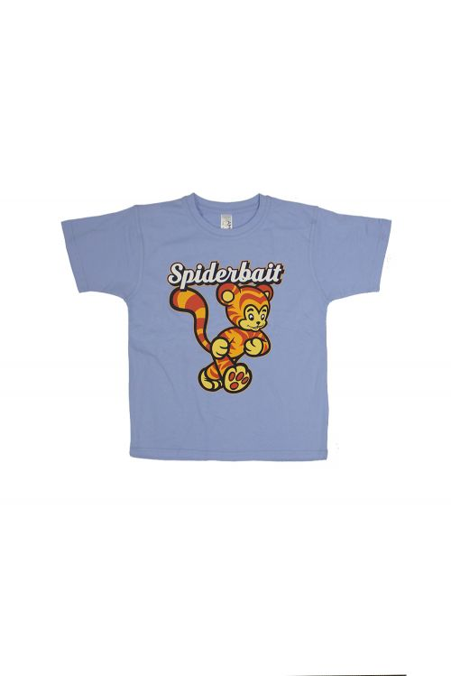 Tiger Light Blue Kids Tshirt by Spiderbait