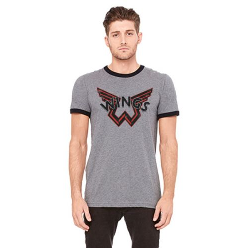 Wings Dark Grey Ringer Tshirt One On One World Tour 2017 by Paul McCartney