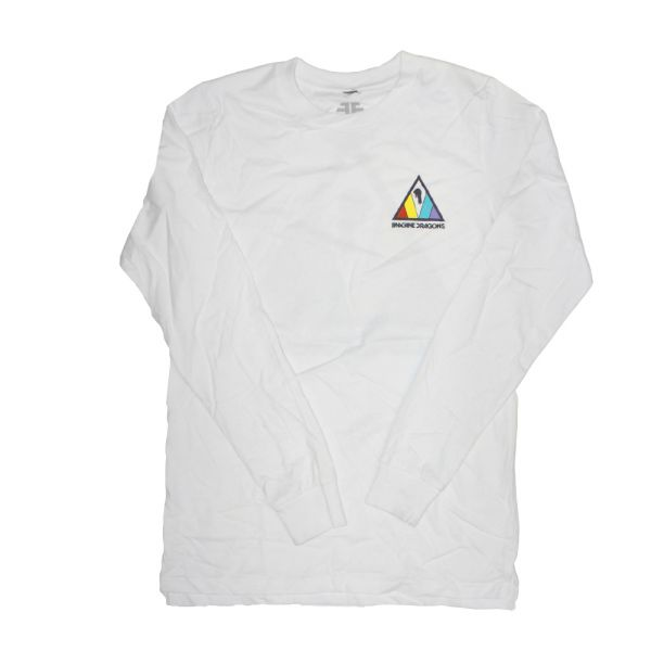 Colorful Triangle White Longsleeve Tshirt