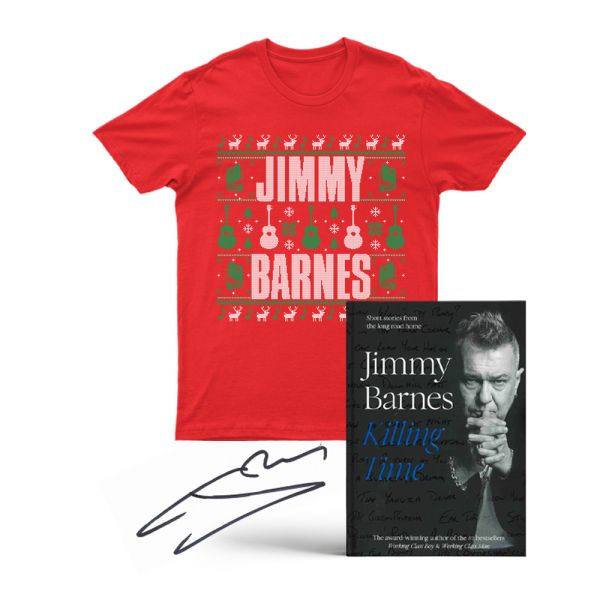 SIGNED KILLING TIME BOOK WITH PERSONAL MESSAGE FROM JIMMY & UGLY XMAS TSHIRT PACK
