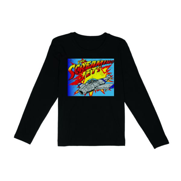 Retro Jet Black Longsleeve Ladies Tshirt