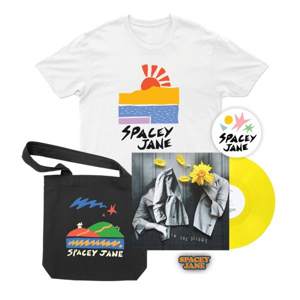 "In The Slight (EP) 10"" Vinyl V2 Solid Yellow + Beach Sun White Tshirt, Star House Black Tote, Logo Pin + Shapes Sticker"
