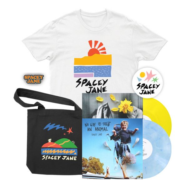 "No Way To Treat An Animal (EP) 10"" V2 Blue/White Marble Vinyl+ In The Slight (EP) 10"" Solid Yellow Vinyl + Beach Sun White Tshirt, Star House Black Tote, Logo Pin + Shapes Sticker"