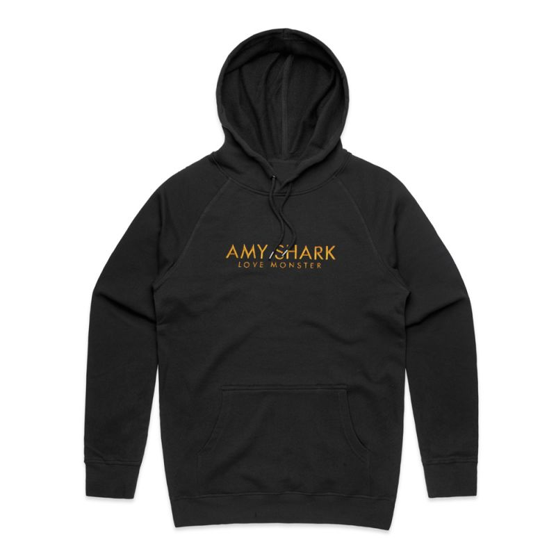 Love Monster Embroidered Gold Logo Black Hoody
