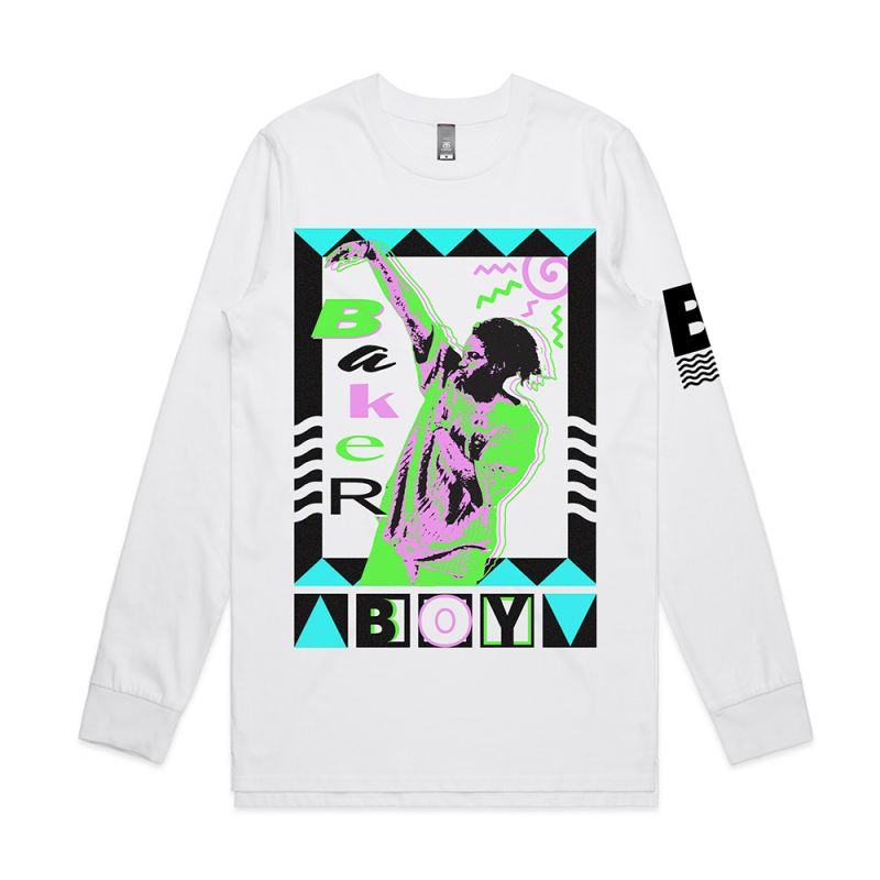 Neon Portrait White Long Sleeve Tshirt