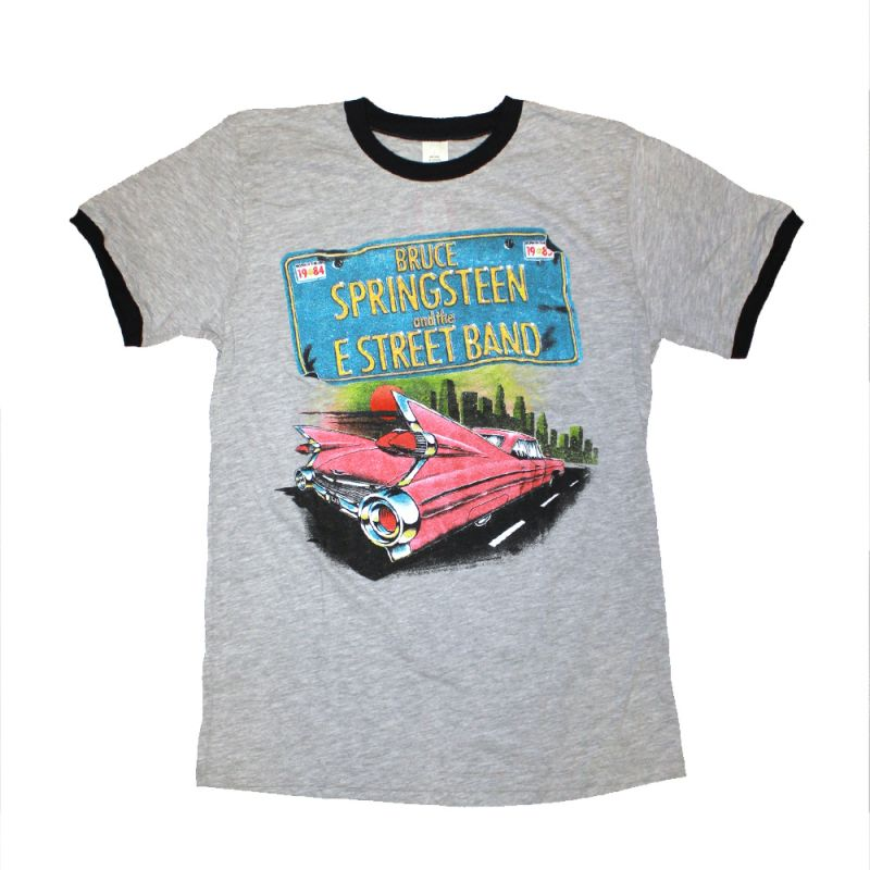 Pink Car Ringer Grey Tshirt