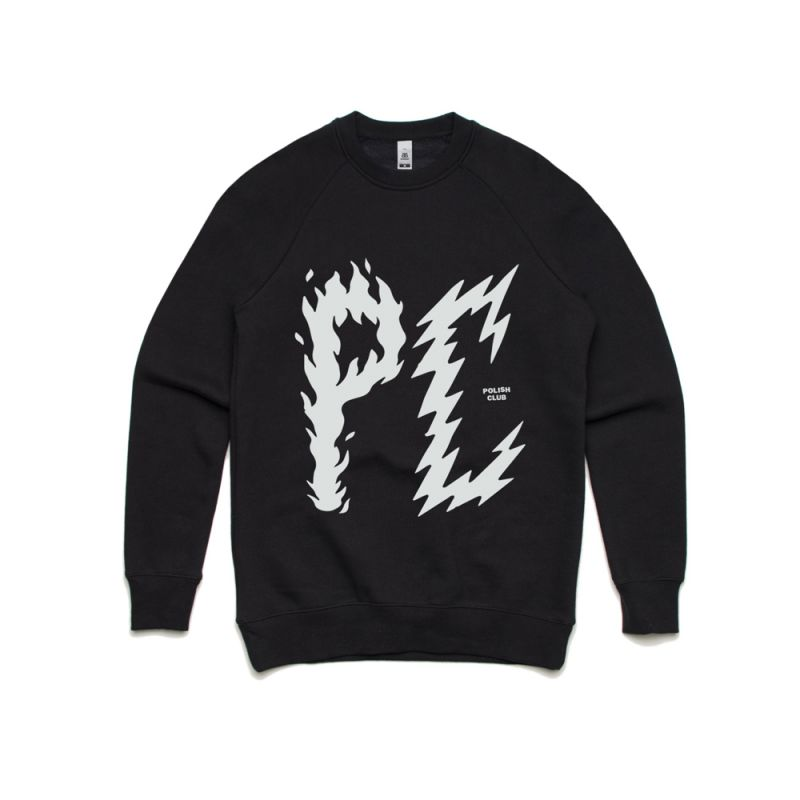 PC Bolt Writing Black Crew Sweatshirt