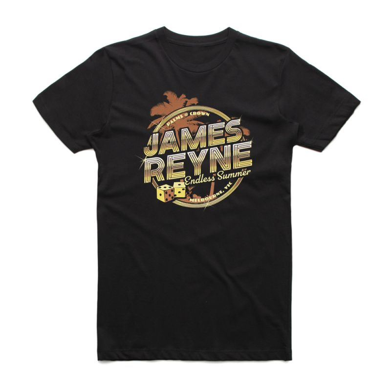 Endless Summer Gold Palms Black Tshirt