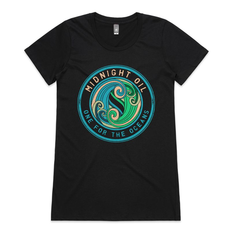 Oceans Black Ladies Tshirt