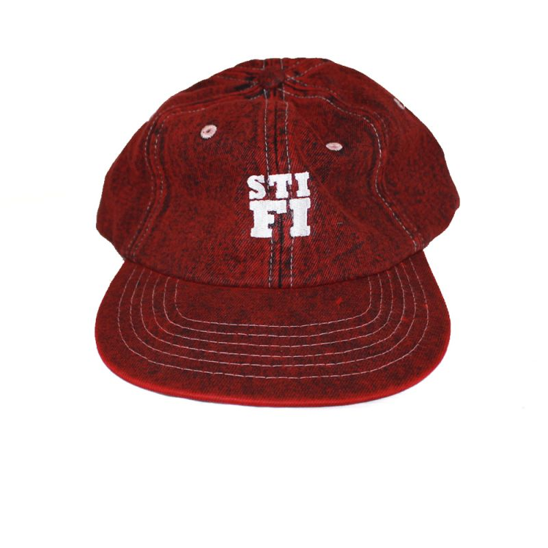 Cap washed 6 panel Red (White Embroidered Logo)