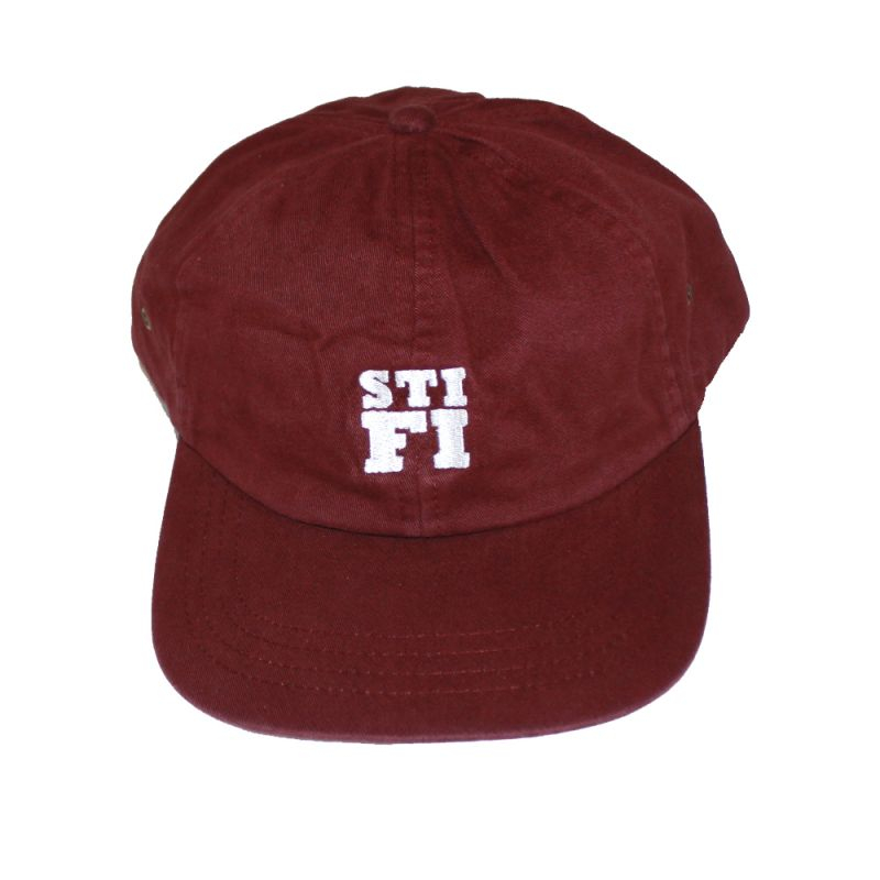 Cap washed 6 panel burgundy (White embroidered logo)