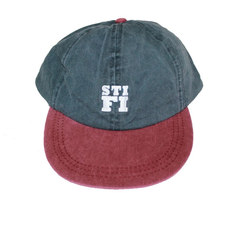 Cap washed 6 panel burgundy /grey (White embroidered logo)