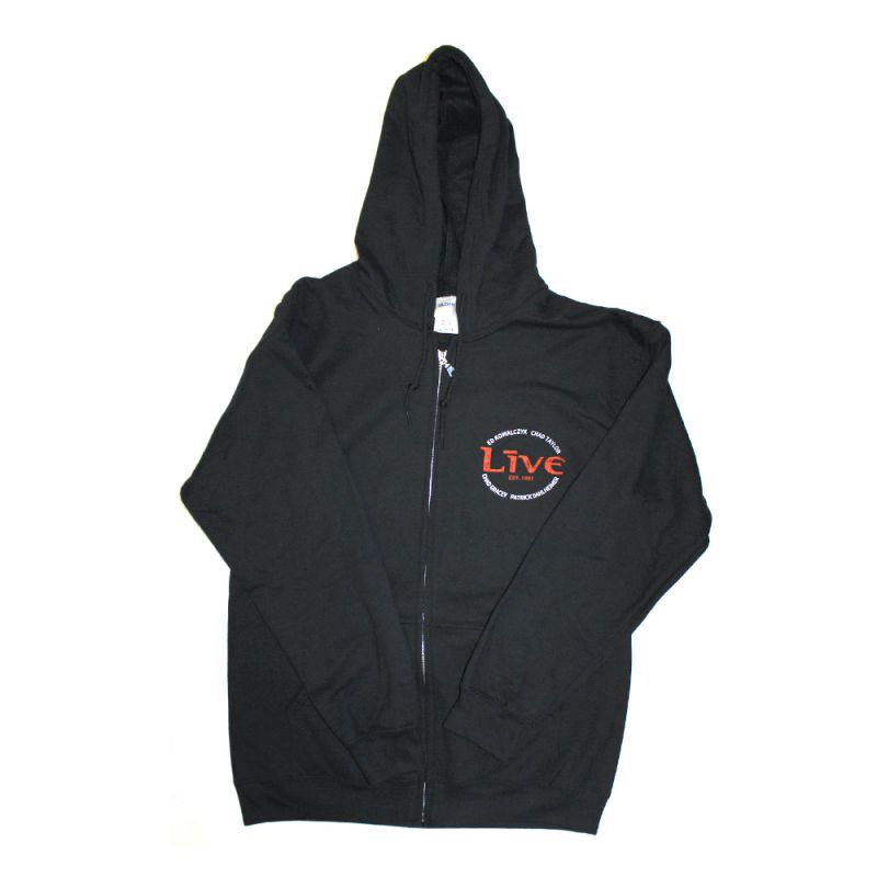 Cross Back Zip Up Black Hoody