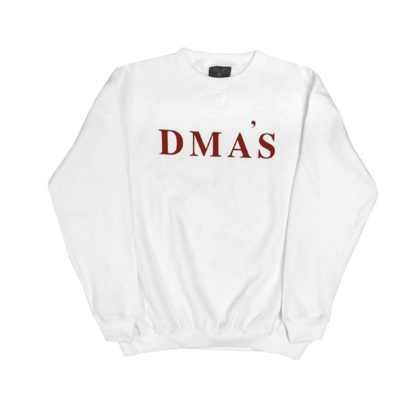 White Crewneck Jumper Red Logo