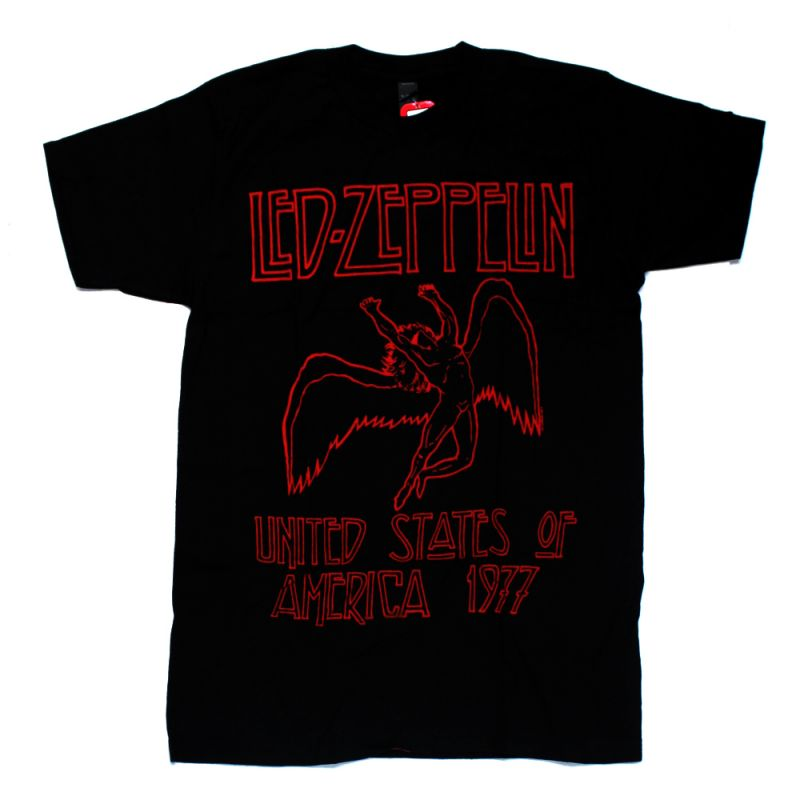 USA 77 Red Letters Black Tshirt