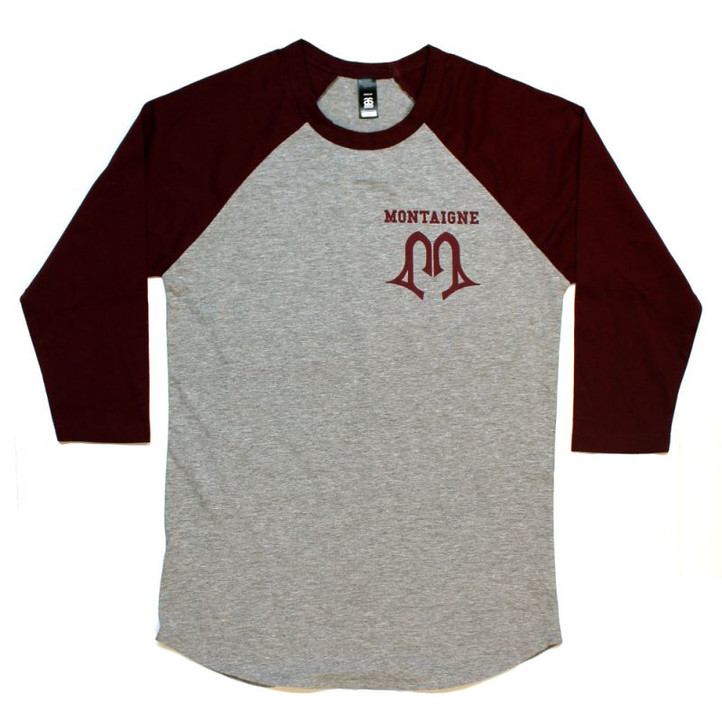 Monteam Raglan Grey/Burgundy