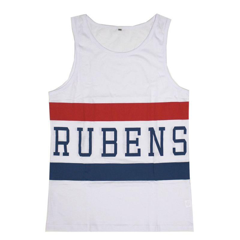 Blue/Red Stripe White Singlet